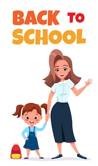 Back to school card or phone banner with cute schoolchild editable template