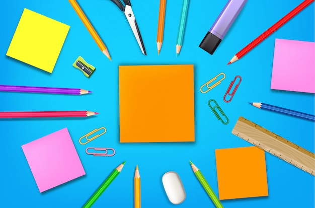 Back to school card supplies realistic, top view