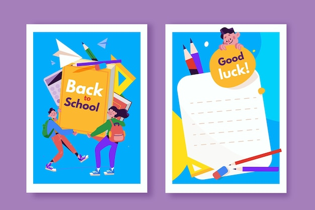Back to school card template set