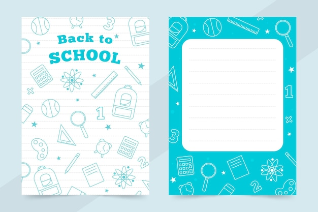 Back to school card template theme