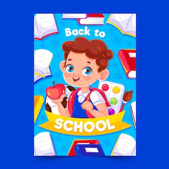 Back to school card template with boy illustrated