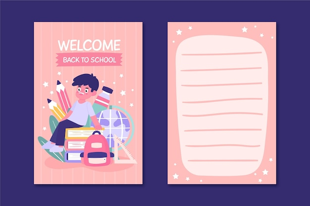 Back to school card template with boy