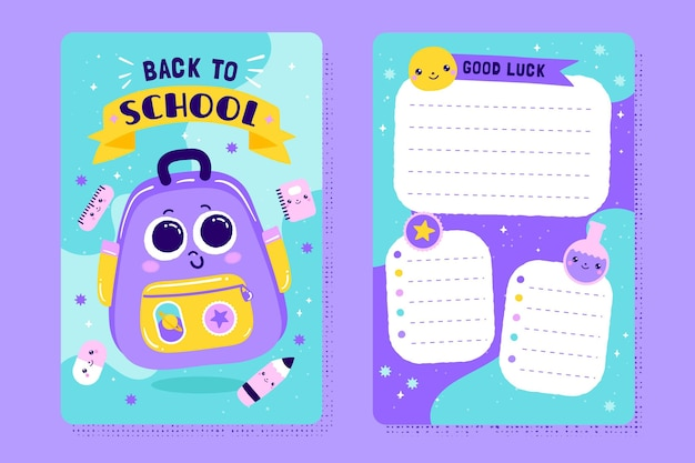 Back to school card template with illustrations