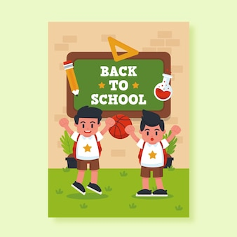 Back to school card template Free Vector