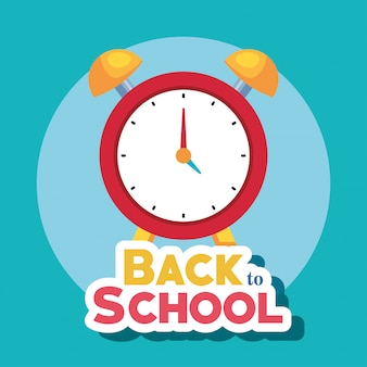 Back to school card with alarm clock vector illustration design