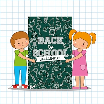 Back to school card with cartoons