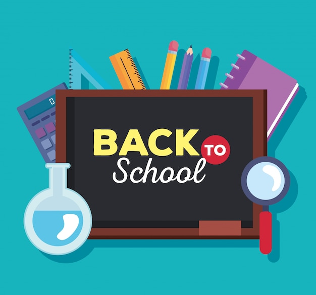 Back to school card with chalkboard and supplies education vector illustration design