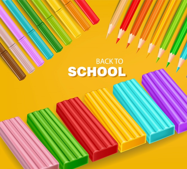 Back to school card with colorful pencils