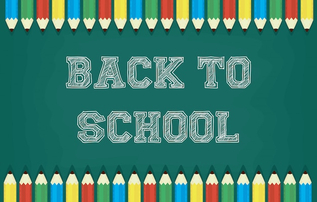 Back to school card with colors pencils and chalkboard