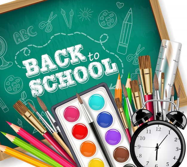 Back to school card with drawing tools