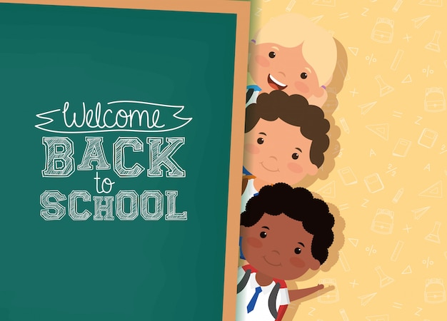 Back to school card with interracial students