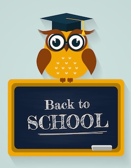 Back to school. card with learned owl sitting on a blackboard