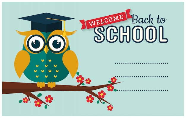 Back to school. card with smart owl and a place for text.