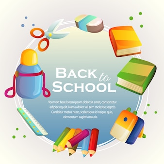 Back to school card with stationary