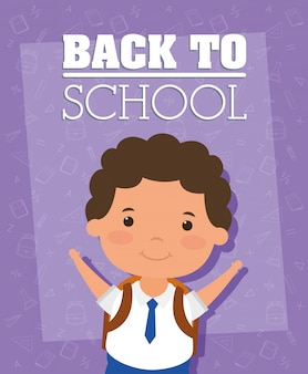 Back to school card with student boy