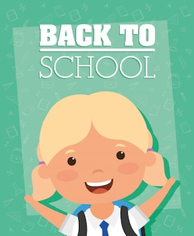 Back to school card with student girl