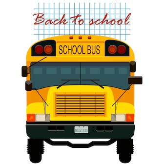 Back to school card with yellow bus.