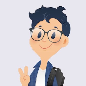 Back to school, cartoon boy student showing fingers up