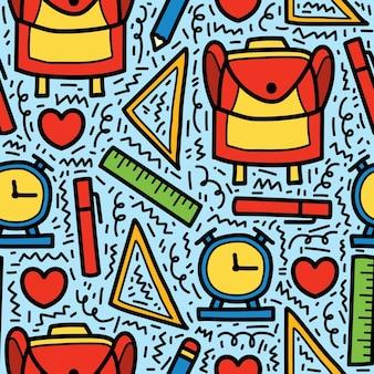 Back to school cartoon doodle pattern design hand drawn