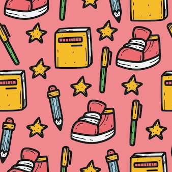Back to school cartoon doodle pattern design