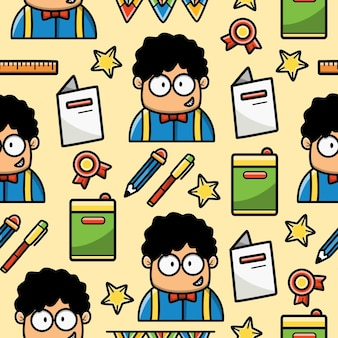 Back to school cartoon doodle seamless pattern design