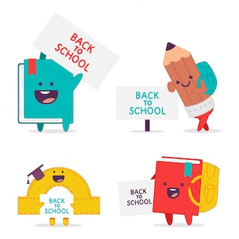 Back to school  cartoon funny characters set isolated on a white background.