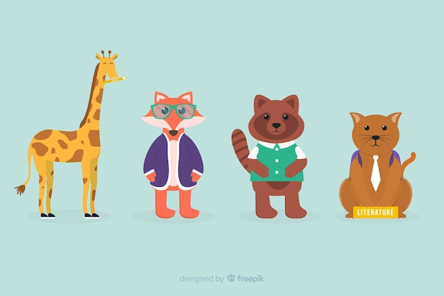 Back to school celebration animal collection