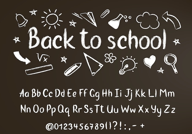 Back to school chalk text on blackboard with school doodle elements and chalk alphabet
