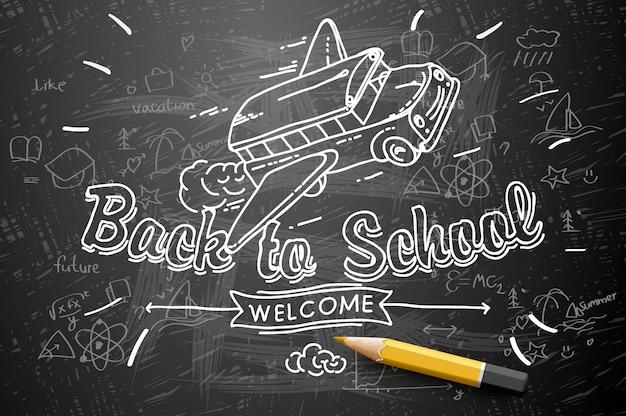 Back to school on chalkboard background, school bus