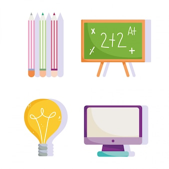 Back to school, chalkboard computer pencils color idea elementary education cartoon icons