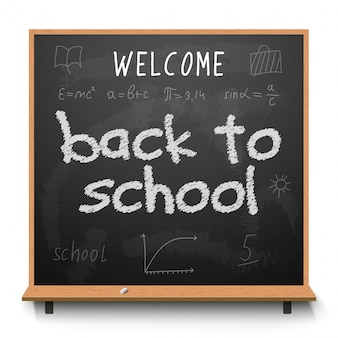 Back to school chalkboard design lettering. blackboard with text back to school, made with chalk
