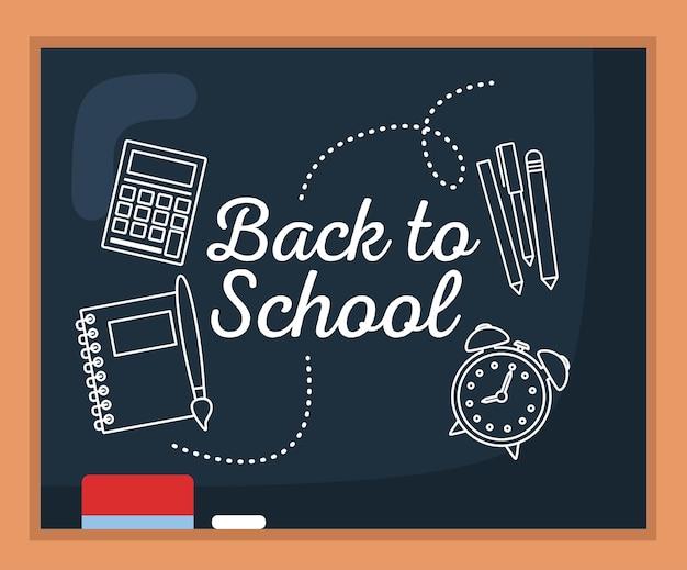 Back to school over chalkboard