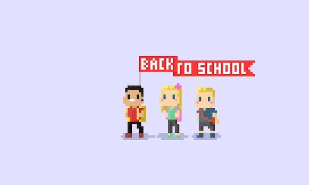 Back to school character with red flag.pixel art.