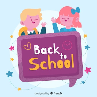Back to school characters with chat bubble
