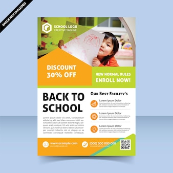Back to school cheerful flyer template design