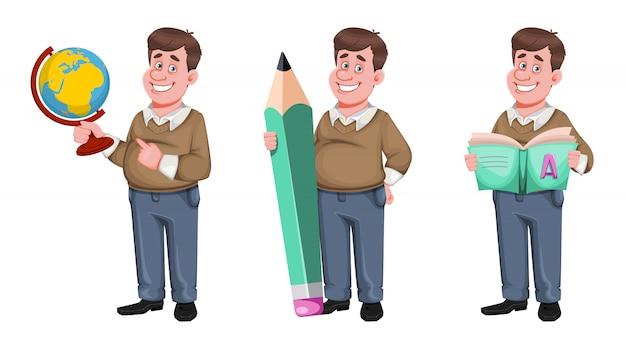 Back to school. cheerful male teacher