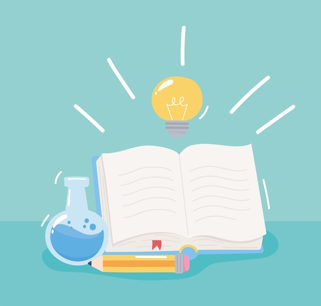 Back to school, chemistry flask book and pencil, elementary education cartoon