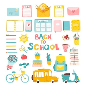 Back to school in childish cartoon style. a variety of colorful object.
