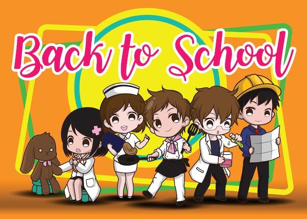 Back to school., children in job suit., job concept.