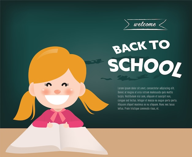 Back to school childrend in classroom.