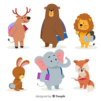 Back to school collection with wild animals