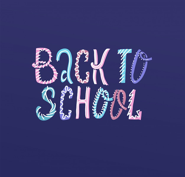 Back to school color lettering illustration