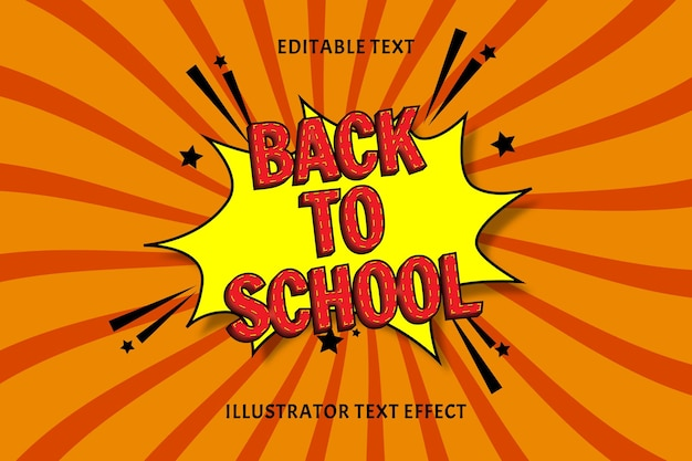 Back to school color red editable text effect