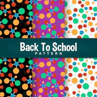 Back to school colorful atom seamless pattern