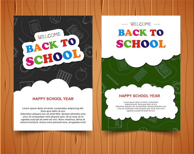 Back to school colorful banner on wood background