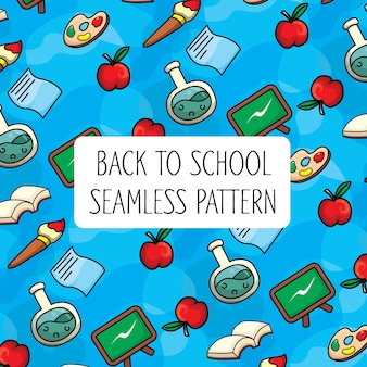 Back to school colorful seamless pattern