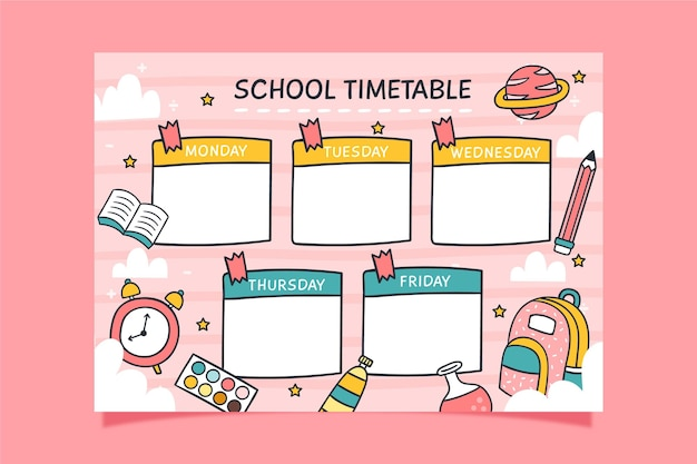 Back to school colorful timetable
