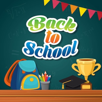 Back to school composition poster design