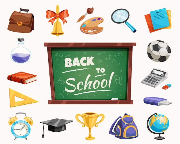 Back to school composition poster