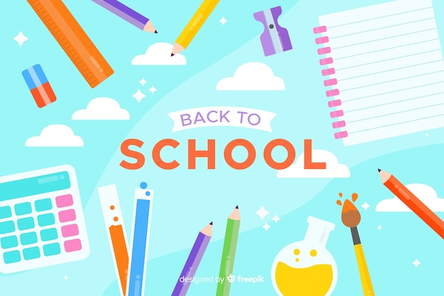 Back to school composition with blue background flat design